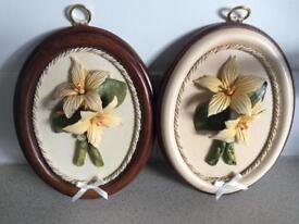 Capodimonte oval pictures set of two