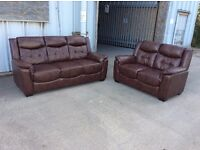Brown Leather 3 Seater + 2 Seat Sofa Set - Ex Display - £399 Including Free Local Delivery