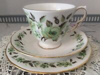 Colclough Bone China Green Floral Trio.