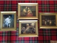 Gilt heavy framed Rembrandt prints x 4. All approx.18in x 15in.