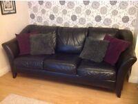 3 seater black leather sofas - set of 2