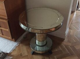 Art Deco 1930's Mirror Glass side table/lamp table