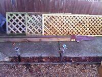3 lattice fence panels and posts