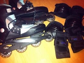 Size 8 Inline Roller Skating Full Package Shoes + 6 Protective Gear
