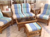 Three Piece Conservatory Furniture with matching Coffee Table and Footstool