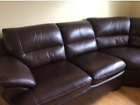 5 seater chocolate brown corner leather sofa. Excellent condition