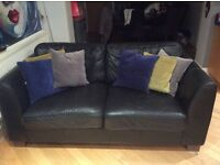 3 & 2 black full leather sofas with fire retardant labels, no rips or tears great condition