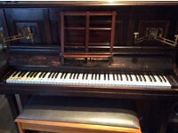 Upright Piano with double stool.
