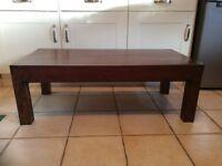 Dark wood oblong coffee table