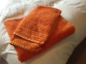 Orange Bathroom Towels and Matching Bin Soap Dish Holder and Toothbrush Holder