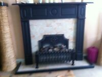Fire surround in black. Electric coal fire. Good working order good condition