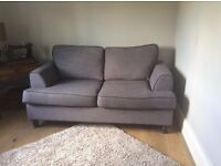 Sofa Bed - Bonnie Light Grey Sofabed with Dark Grey Piping