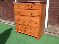 Pine chest of SIX DRAWERS as new condition.