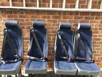 2 single and 1 double rear van seats