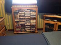 Pine bookshelf with approx 500 DVDs