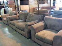 Brown fabric 3 seater & 2 chairs