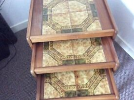 Nest of three tables retro style surfaces are tiled never used