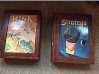 Wood vintage classic games risk and stratego