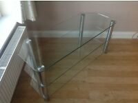 TV Stand clear glass and chrome