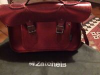 Zatchels micro leather satchell metallic red bag
