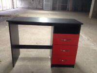£40 Dressing table / Desk in high gloss red front with black side and top