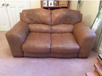 3 + 2seater tan leather sofa