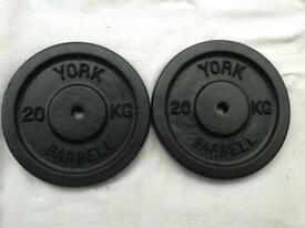 4 x 20kg York Barbell Standard Cast Iron Weights