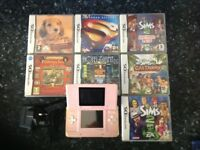 Nintendo DS, pink with 7 games.