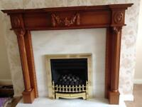 Fire surround with marble back and hearth