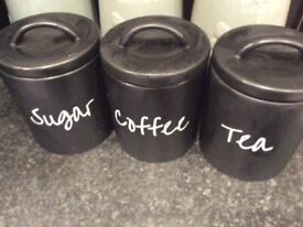 Tea, coffee, sugar caddies