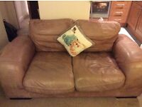 Shabby Chic/Vintage Brown Leather 2-Seater Sofa