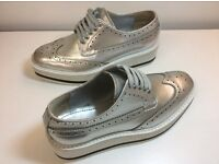 PRADA METALLIC LEATHER PLATFORM SNEAKERS SHOES IN VERY GOOD CONDITION BARGAIN !!! SIZE 37