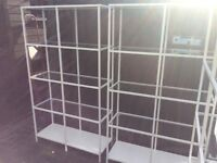 WHITE GLOSS SHELVING UNITS GLASS