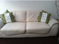 Ivory Leather 3 seater Sofa