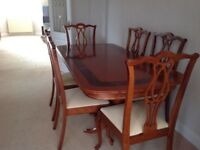 Oak Dining table and Six Chairs