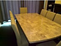 Dinning table marble top superior quality and 8 dinning chairs