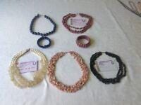 Gemstone collar necklaces and bracelets