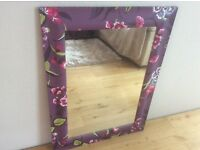 Mirror, rectangular 67x 90cm. Mainly purple colours with flowers