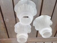 Three Frosted Glass lampshades