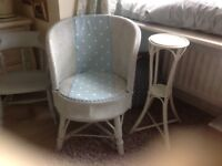"LLOYD LOOM CHAIR"""" AND PLANT OR SIDE TABLE, for sale both very pretty and strong"