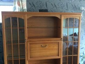 Display cabinet with lighting. Can be split for easy removal. Slight wear and tear. Well loved.