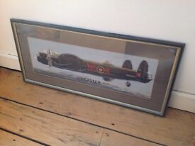 Cross stitch picture of a Lancaster Bomber