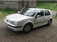 VW Golf, white. 108887 miles. 1999. Great condition. Only 2 owners. Starts every time.