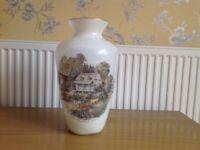 CURRIER & IVES large white glass vase with picture of American homestead - Summer