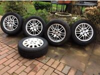 Ford 5 Alloys 4 stud 1new tyre 4 part worn £100