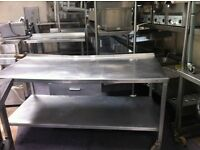Stainless Steel Table with Shelf and Small Draw (Width:173 Length:81 Height:85)