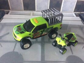 Dino valley toy truck and quad bike playset