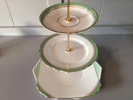 Shelley Bone China 3 Tier Cake Stand Green Art Deco Style.