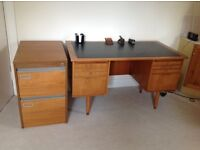 Teak desk with matching chair and two drawer filing cabinet