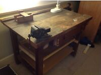 Workbench with Record No 1 bench vice attached
